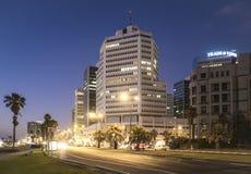 Tel Aviv 10 06 2017: Scena e transpor di notte della passeggiata di Tel Aviv Immagine Stock Libera da Diritti
