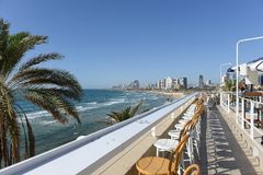 Tel Aviv seashore as seen from Old Jaffa. Israel. royalty free stock photo