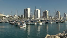 TEL AVIV, SEPTEMBER - The yacht sails into port stock footage