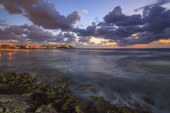 Tel Aviv on the shores of the storm sea Stock Images