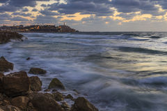 Tel Aviv on the shores of the storm sea Royalty Free Stock Image