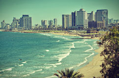 The Tel Aviv sky line postcard / vintage look Royalty Free Stock Photography