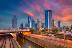 Tel Aviv Skyline. Cityscape image of Ramat Gan, Tel Aviv, Israel during dramatic sunrise stock photos