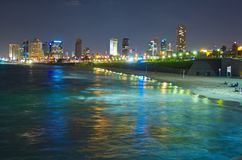 Tel Aviv skyline / coastline at night Stock Image