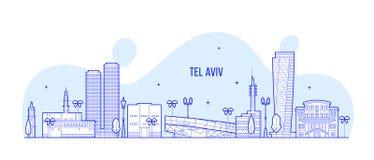 Tel Aviv-Skyline Israel-Stadtgebäude-Vektorlinie stock abbildung
