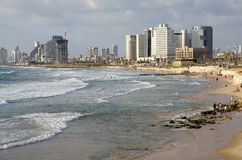 Tel Aviv. Skyline from Jaffa and seascape, Israel stock photo
