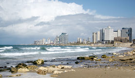 The Tel Aviv skyline and the Mediterranean sea Stock Images
