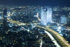 Tel Aviv Skyline at Night Stock Image