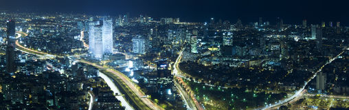 Tel Aviv Skyline at Night Royalty Free Stock Images