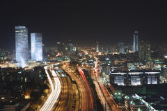 The Tel aviv skyline - Night city Royalty Free Stock Images