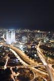 The Tel aviv skyline - Night city Stock Photos