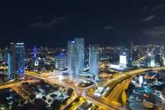 Tel Aviv Skyline At Night, Skyscraper Stock Images