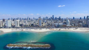 Tel Aviv skyline -. Tel Aviv skyline over the mediterranean sea royalty free stock photo