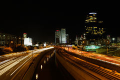 Tel Aviv skyline photo at night Stock Photos