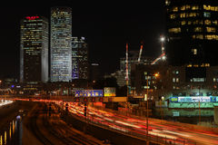 Tel Aviv skyline photo at night Royalty Free Stock Image