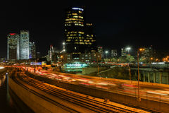 Tel Aviv skyline photo at night Royalty Free Stock Photos