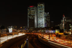 Tel Aviv skyline photo at night Stock Photo
