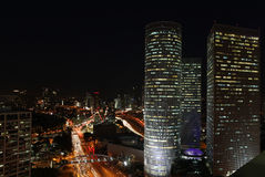 Tel Aviv skyline photo at night Royalty Free Stock Photo