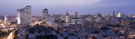 Tel Aviv Skyline at twilight. Panorama of Tel Aviv city skyline at twilight,  Israel Stock Photo