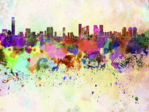 Tel Aviv skyline in watercolor background Royalty Free Stock Photos