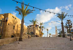 Tel Aviv - The st. Peters church in old Jaffa on Kedumim Square. Royalty Free Stock Photos