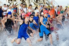 Kids triathlon. The send out of the 12-13 heat in Tel Aviv triathlon Stock Photo