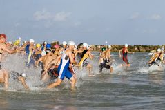 Tel Aviv triathlon olympic heat. The send out of the under 39 olympic heat in Tel Aviv triathlon royalty free stock images