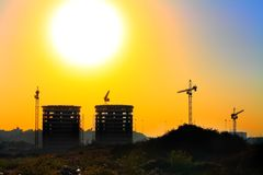 Tel Aviv under construction. Sunrise over Tel Aviv under construction Royalty Free Stock Photo