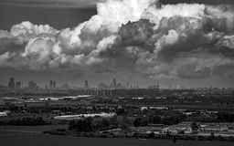 Tel Aviv from view point. Accumulating clouds over tel Aviv city Royalty Free Stock Photo