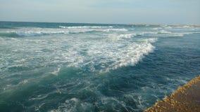 Tel aviv -waves break on the Boardwalk. Picture of waves breakes on the wall of the Boardwalk Royalty Free Stock Image