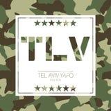 Tel. aviv-Yafo, de camouflagetypografie van Israël T-shirtgrafiek vector illustratie