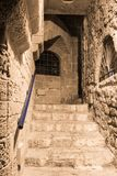 Alley of the sign of the zodiac Leo at night in on old city Yafo in Tel Aviv-Yafo in Israel. Tel Aviv-Yafo, Israel, December 01, 2017 : Alley of the sign of the stock image