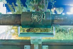 Sign of the zodiac Leo on the bridge of the Wishing Bridge in the green light of a spotlight located on old city Yafo in Tel Aviv-. Tel Aviv-Yafo, Israel stock images