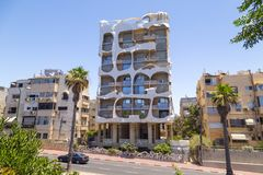 Crazy House in Tel Aviv, Israel. Tel Aviv-Yafo, Israel - June 9, 2018: Crazy house designed by Leon Geignebet in Tel Aviv. The building is an architectural royalty free stock photo