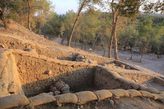 Tel Azeqa考古学公园考古学公园在以色列 免版税库存图片