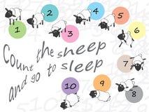 Tel de schapen en ga naar slaap Stock Afbeeldingen
