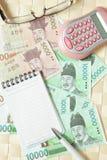 Tel geld met calculator Royalty-vrije Stock Afbeeldingen