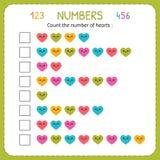 Tel het aantal harten Aantekenvel voor kleuterschool en kleuterschool Opleiding om aantallen te schrijven en te tellen Oefeningen vector illustratie
