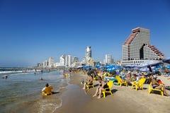 Tel Aviv plaża & Hotelowy pasek zdjęcia royalty free
