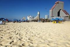 Tel Aviv plaża & Hotelowy pasek zdjęcia stock