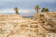 Tel Megiddo, Israel. Ruins of historic Tel Megiddo, Jizreel Valley, Israel stock images