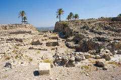 Tel Megiddo National park. Remains and ruins in Tel Megiddo National park in Israel Royalty Free Stock Photography