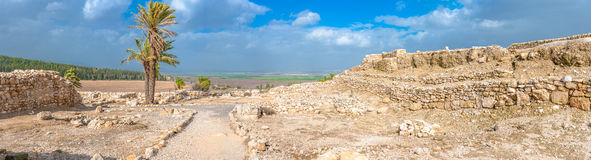 Tel Megiddo ruins. Tel Megiddo in norhtern Israel is better known under it's Greek name - Armageddon. The Book of Revelation mentions an apocalyptic battle at royalty free stock image