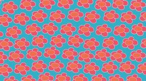 Tela azul com flores alaranjadas Imagens de Stock