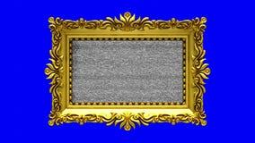 Tela azul no fundo O ruído da tevê e o croma verde fecham jogos na tela na moldura para retrato ornamentado do ouro 3D animado ilustração do vetor