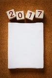 Tela in bianco con l'anno 2017 numerico Fotografia Stock