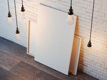Tela in bianco con le lampadine nell'interno moderno del sottotetto rappresentazione 3d Fotografie Stock Libere da Diritti