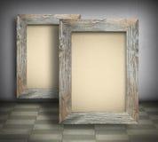 Tela in bianco nei vecchi telai di legno Fotografia Stock