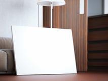 Tela in bianco nell'interno moderno del sottotetto rappresentazione 3d Immagini Stock