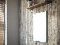 Tela in bianco sulla parete di legno nell'interno rappresentazione 3d Fotografia Stock